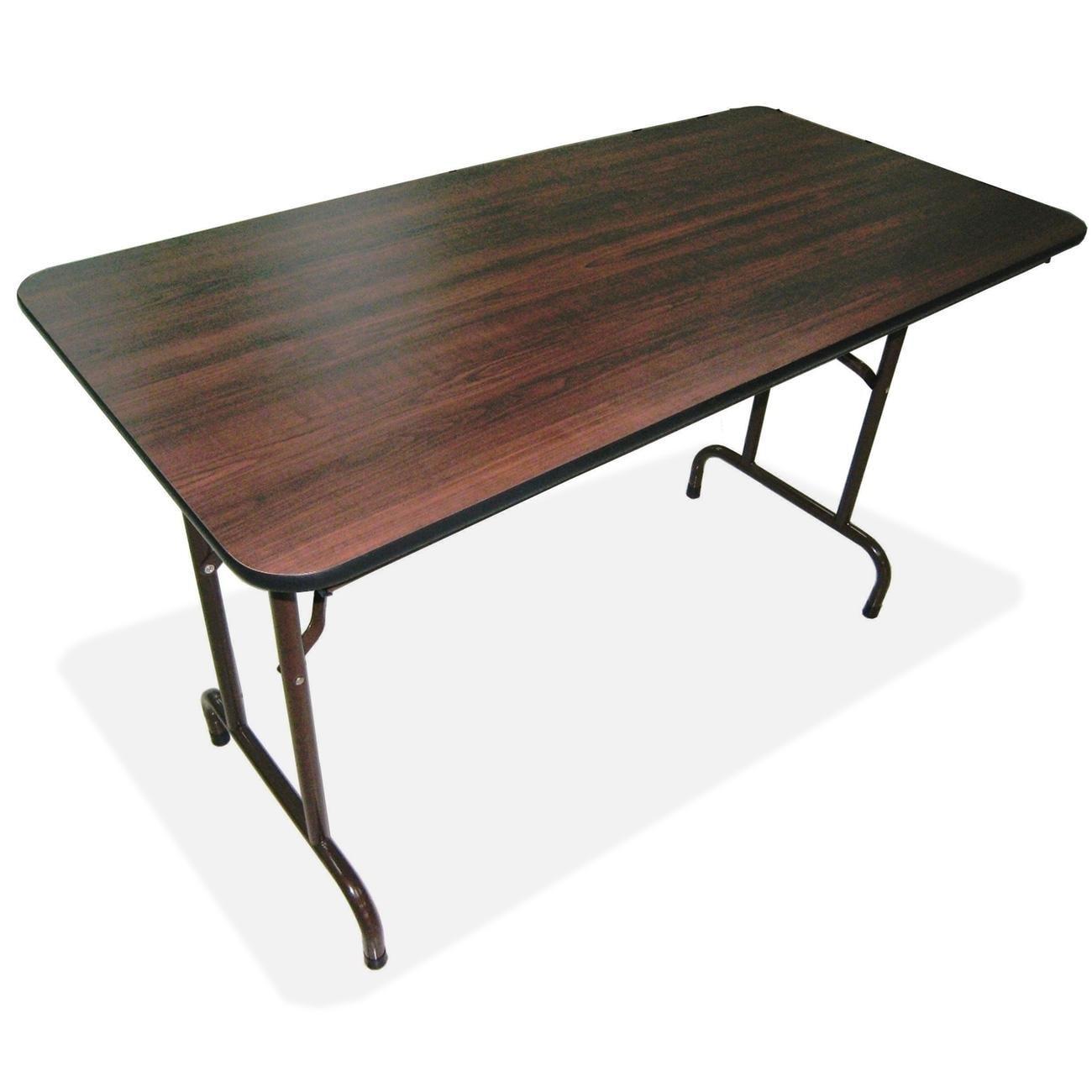 Lorell Mahogany 60-inch x 30-inch Economy Folding Table ...
