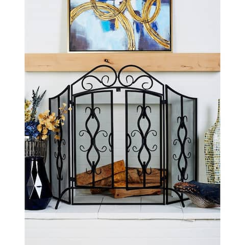 Traditional 40 x 60 Inch Wrought Iron Footed Fire Screen by Studio 350