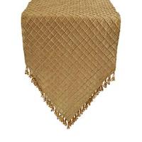 Sherry Kline Pleated Diamond Gold Luxury Table Runner