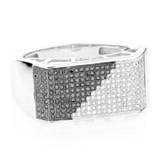 Luxurman Men's 10k White Gold 5/8ct TDW Black and White Diamond Ring (H-I, SI1-SI2)