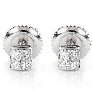 Luxurman 14k Gold 1/3ct TDW Princess-cut Diamond Earrings (G-H, VS1-VS2)