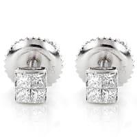 Luxurman 14k Gold 1/3ct TDW Princess-cut Diamond Earrings