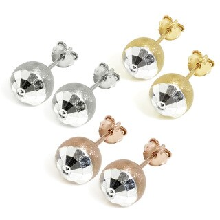Eternally Haute Sterling Silver Satin and Hammered Cut Ball Stud Earrings (3 options available)