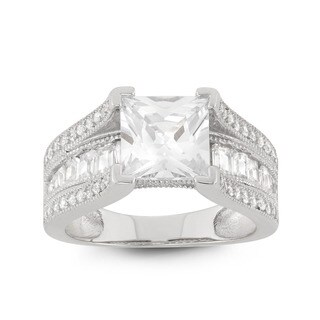 Gioelli Sterling Silver Princess Cubic Zirconia Bridal-style Ring