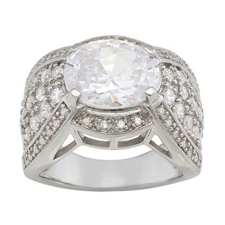 Gioelli Sterling Silver Cubic Zirconia Vintage-style Round Ring