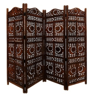 Carved Screen Sun and Moon, Wood Room Divider