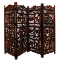 Benzara Hand Carved Sun And Moon Design Fold able 4-Panel Wooden Room Divider, Brown