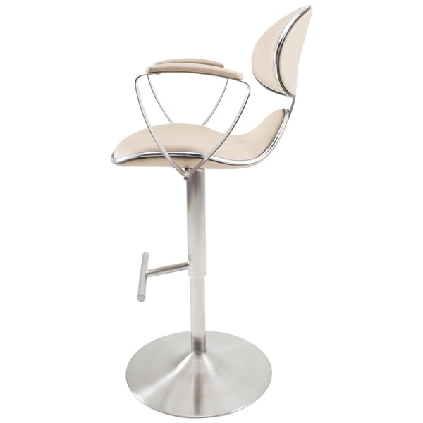 MIX Brushed Stainless Steel Adjustable Height Swivel Bar Stool with Arms and