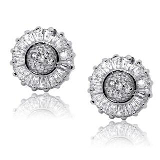 Gioelli Sterling Silver Sparkling Cubic Zirconia Stud Wheel Earrings