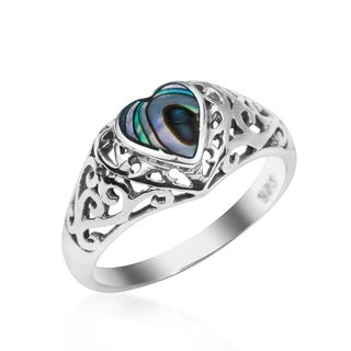 Handmade Stone Inlay Heart Sterling Silver Ring (Thailand)