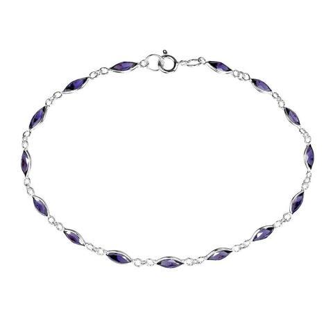Handmade Sublime Purple Oval Links .925 Sterling Silver Bracelet (Thailand)