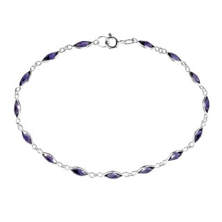 Sublime Purple Oval Links .925 Sterling Silver Bracelet (Thailand)