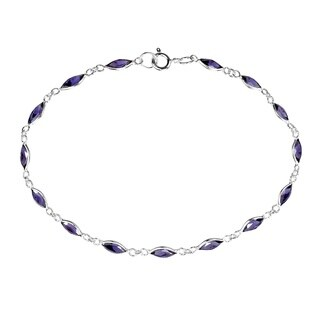 Handmade Sublime Purple Oval Links .925 Sterling Silver Bracelet (Thailand)