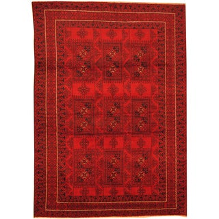 Herat Oriental Afghan Hand-knotted Semi-Antique Tribal Balouchi Red/ Navy Wool Rug (6'10 x 9'6)
