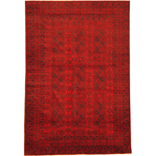 Herat Oriental Afghan Hand-knotted Semi-Antique Tribal Balouchi Red/ Navy Wool Rug (6'7 x 9'9)