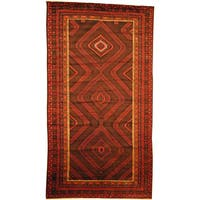 Herat Oriental Afghan Hand-knotted Semi-Antique Tribal Balouchi Navy/ Red Wool Rug (7'4 x 13'8) - 7'4 x 13'8