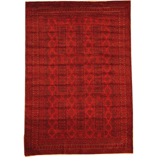 Herat Oriental Afghan Hand-knotted Semi-Antique Tribal Balouchi Red/ Navy Wool Rug (6'8 x 9'6)