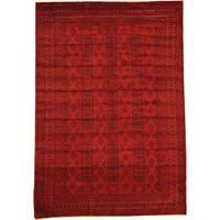 Handmade Herat Oriental Afghan Semi-Antique Tribal Balouchi Red/ Navy Wool Rug (Afghanistan) - 6'8 x 9'6