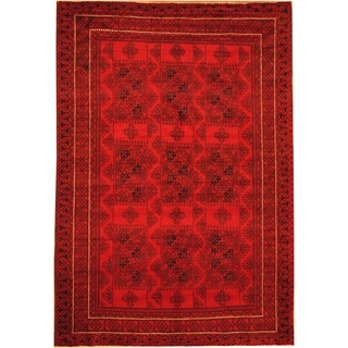 Herat Oriental Afghan Hand-knotted Semi-Antique Tribal Balouchi Red/ Navy Wool Rug (6'8 x 9'7)