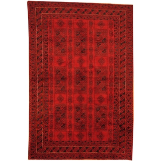 Herat Oriental Afghan Hand-knotted Semi-Antique Tribal Balouchi Red/ Navy Wool Rug (6'3 x 9'6)