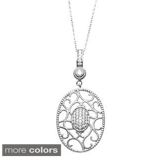 Sterling Essentials Silver Cubic Zirconia Filigree Oval Pendant Necklace