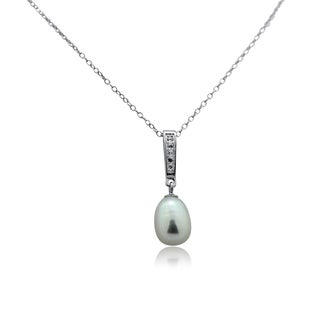 Gioelli Sterling SilverLinear Cubic Zirconia Pearl Dangle Pendant Necklace
