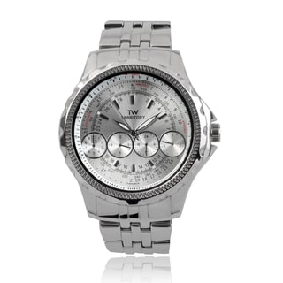 Territory Men's Round Face Quartz Link Band Watch (Option: Silver)