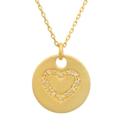 Roberto Martinez Gold over Silver Cubic Zirconia Pendant Necklace