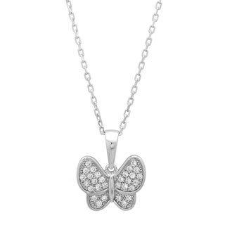 Sterling Essentials Silver Cubic Zirconia Butterfly Necklace