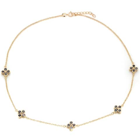 Roberto Martinez Yellow Gold Plated Silver Cubic Zirconia Necklace (16 Inch)
