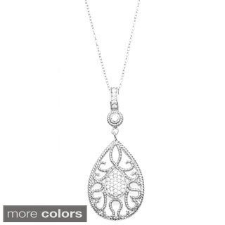 Sterling Essentials Silver Cubic Zirconia Filigree Teardrop Pendant Necklace