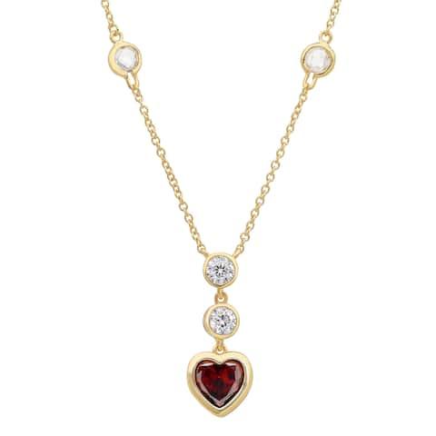 Roberto Martinez Gold over Silver Crimson Heart Cubic Zirconia Necklace