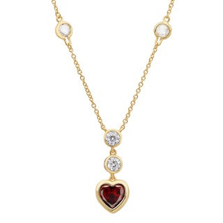 Sterling Essentials Gold over Silver Crimson Heart Cubic Zirconia Necklace