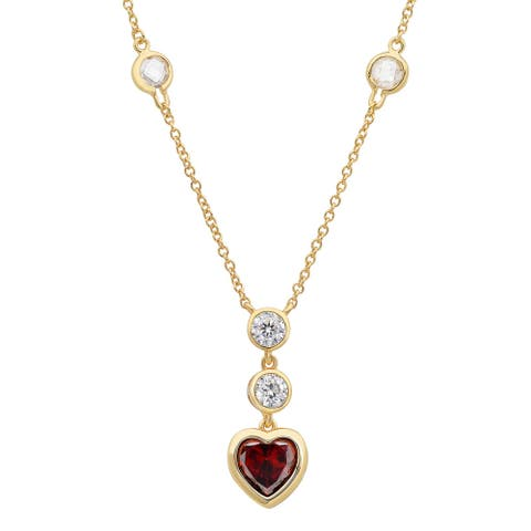 Roberto Martinez Gold over Silver Crimson Heart Cubic Zirconia Necklace