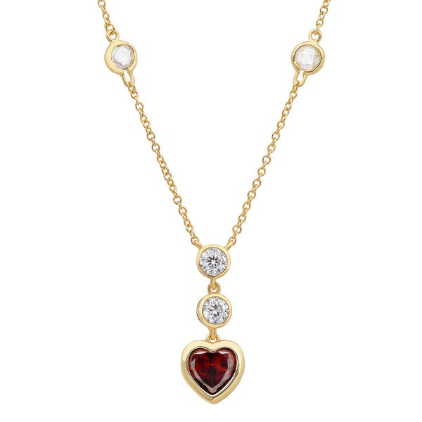 Gold over Sterling Silver Crimson Heart Cubic Zirconia Necklace