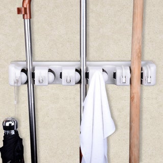 Space-saving Mop and Broom Hanging Organizer with Six Hooks
