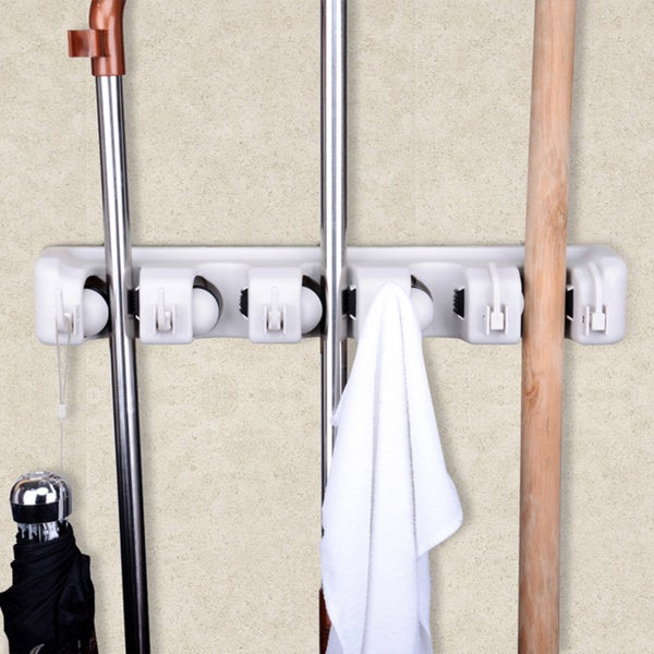 Superbe Space Saving Mop And Broom Hanging Organizer With Six Hooks