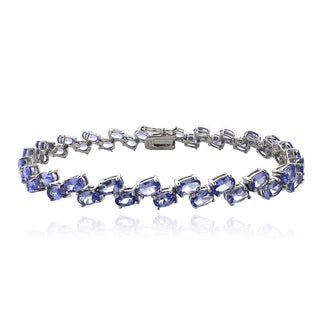 Glitzy Rocks Sterling Silver 2-row Tanzanite Bracelet