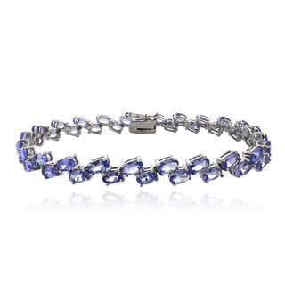 Glitzy Rocks Sterling Silver 2-row Tanzanite Bracelet
