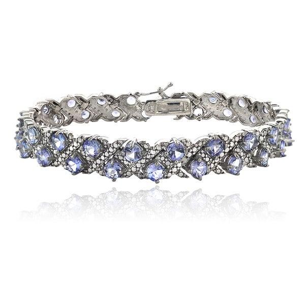 Glitzy Rocks Sterling Silver Tanzanite and Diamond Accent Bracelet
