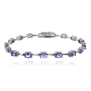 Glitzy Rocks Sterling Silver Tanzanite Oval Tennis Bracelet