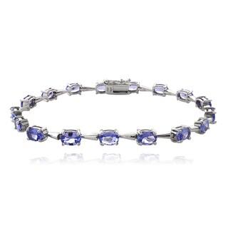 Glitzy Rocks Sterling Silver Tanzanite Oval Tennis Bracelet