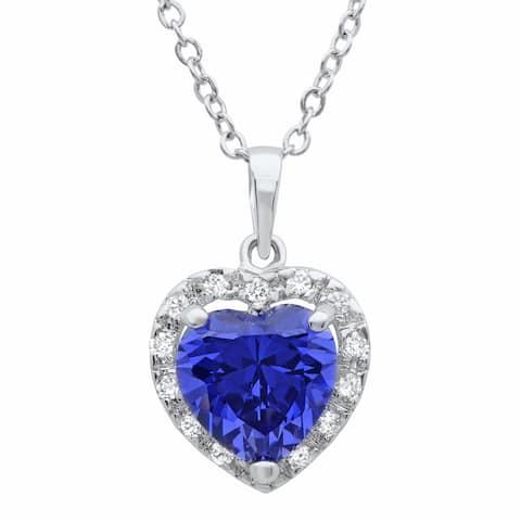 Roberto Martinez Sterling Silver Purple Cubic Zirconia Heart Necklace