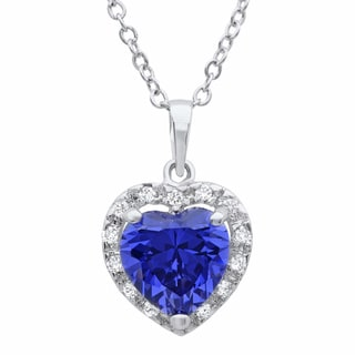 Sterling Essentials Sterling Silver Purple Cubic Zirconia Heart Pendant Necklace