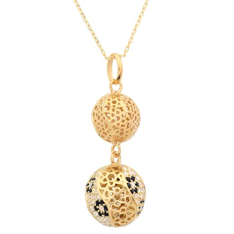 Goldplated Sterling Silver Cubic Zirconia Filigree Bead Pendant Necklace