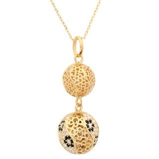 Sterling Essentials Goldplated Sterling Silver Cubic Zirconia Filigree Bead Pendant Necklace