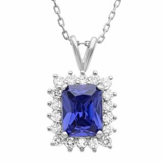 Sterling Essentials Silver Cubic Zirconia Purple Pendant Necklace