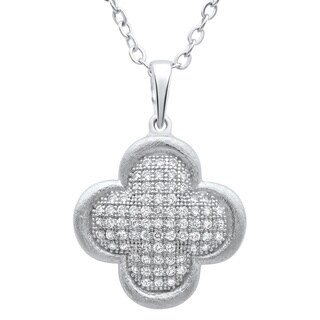 Sterling Silver Cubic Zirconia Puffed Clover Pendant Necklace