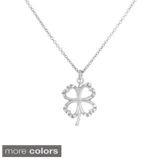 Sterling Essentials Silver Cubic Zirconia Adjustable Clover Necklace
