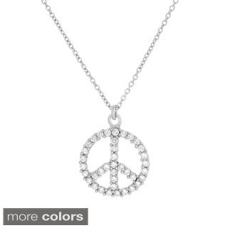 Sterling Essentials Silver Cubic Zirconia Peace Necklace